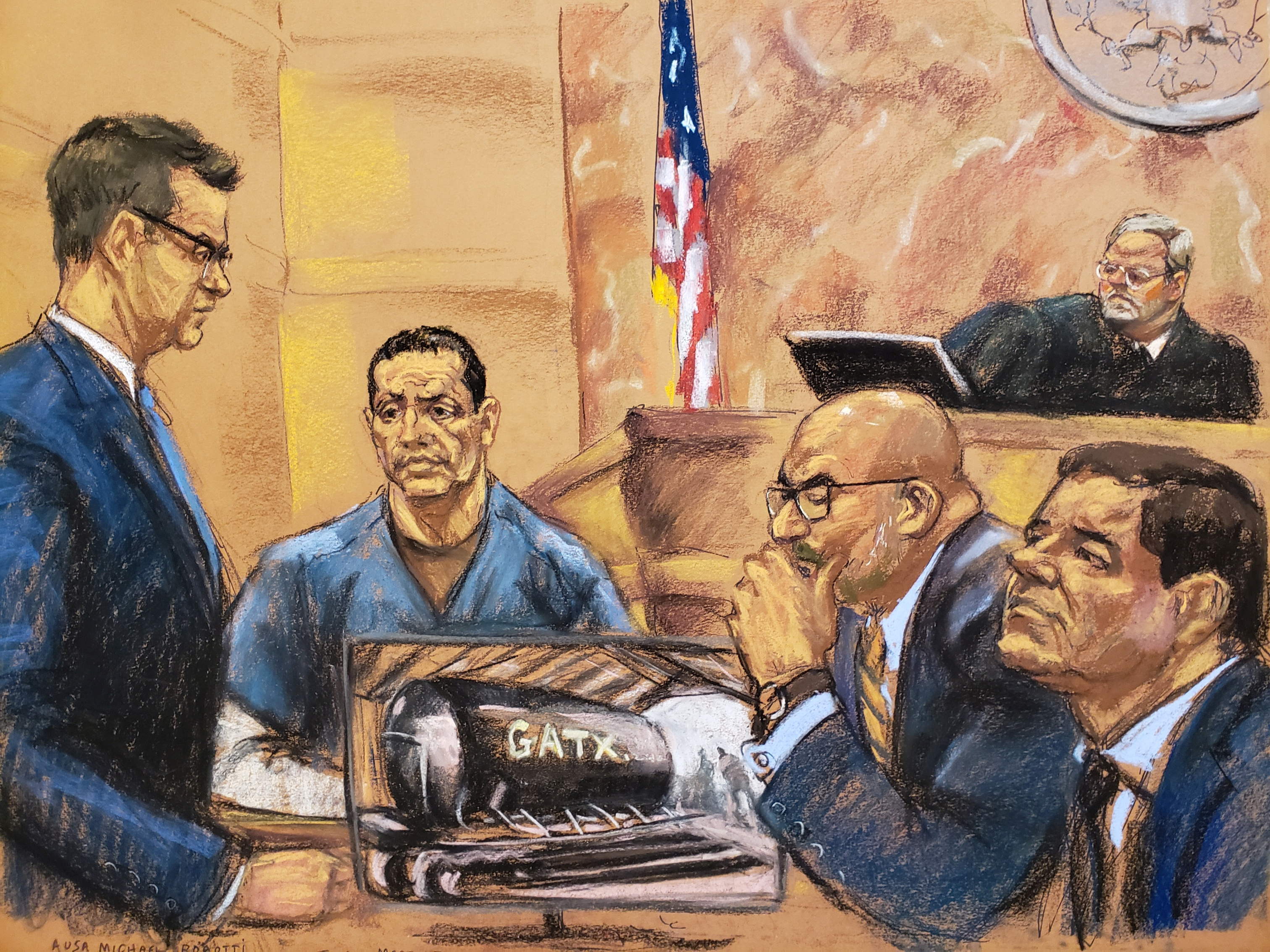 "Assistant U.S. attorney Michael Robotti questions Tirso Martinez-Sanchez (2nd L) during the trial of the accused Mexican drug lord Joaquin ""El Chapo"" Guzman (R), as Judge Brian Cogan and defense attorney A. Eduardo Balarezo look on, in this courtroom sketch in Brooklyn federal court in New York, U.S., December 10, 2018. REUTERS/Jane Rosenberg"