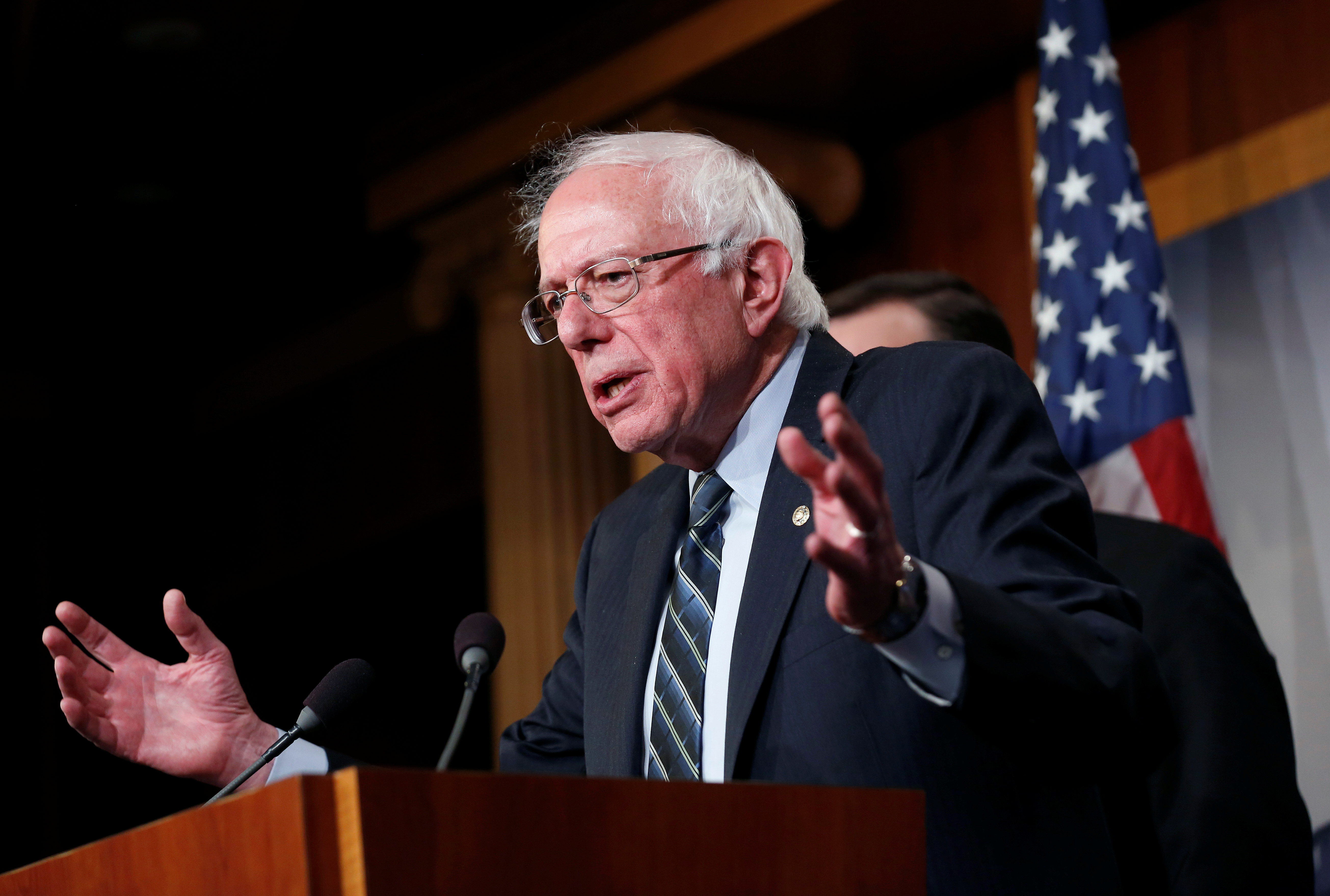Senator Bernie Sanders (I-VT) speaks after the senate voted on a resolution ending U.S. military support for the war in Yemen on Capitol Hill in Washington
