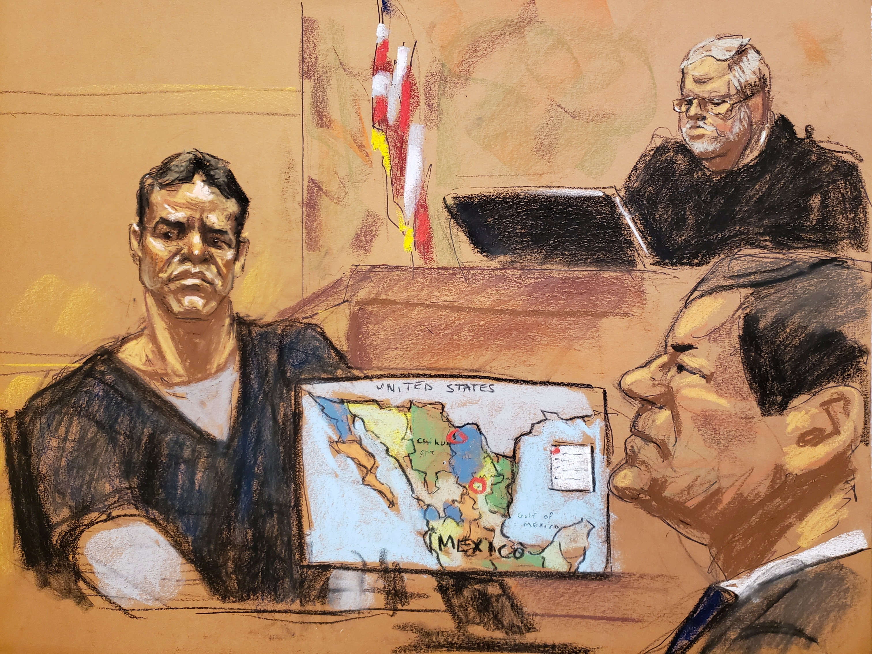 "Vicente Zambada Niebla takes the witness box, at the trial of accused Mexican drug lord Joaquin ""El Chapo"" Guzman (R), in this courtroom sketch in Brooklyn federal court in New York, U.S., January 3, 2019. REUTERS/Jane Rosenberg"
