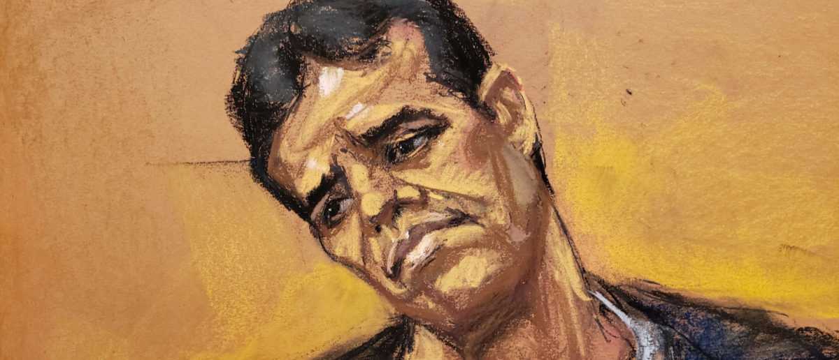 "Vicente Zambada Niebla takes the witness box, at the trial of accused Mexican drug lord Joaquin ""El Chapo"" Guzman (not shown), in this courtroom sketch in Brooklyn federal court in New York, U.S., January 3, 2019. REUTERS/Jane Rosenberg"