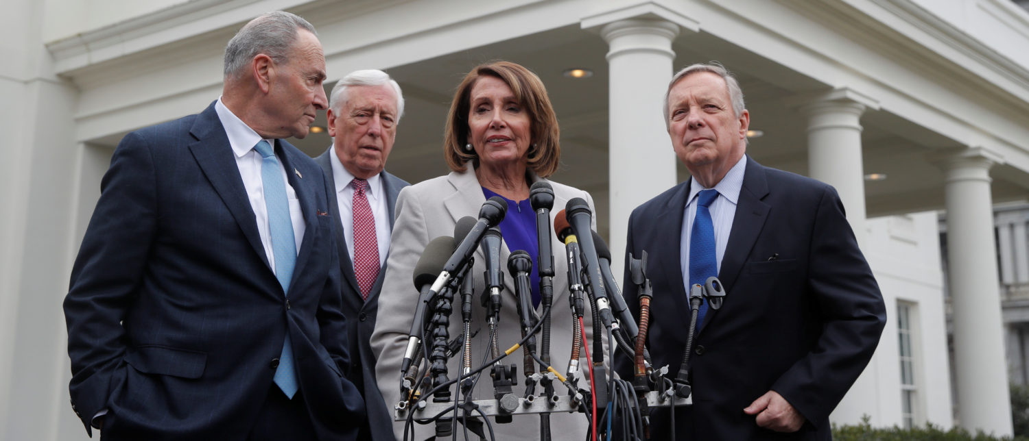 House Speaker Nancy Pelosi (D-CA), Senate Democratic Leader Chuck Schumer (D-NY), Sen. Dick Durbin (D-IL) and Rep. Steny Hoyer (D-MD) speak to reporters following a meeting with U.S. President Donald Trump on the ongoing partial government shutdown at the White House in Washington, U.S., January 4, 2019. REUTERS/Jim Young - RC114E7F9A00