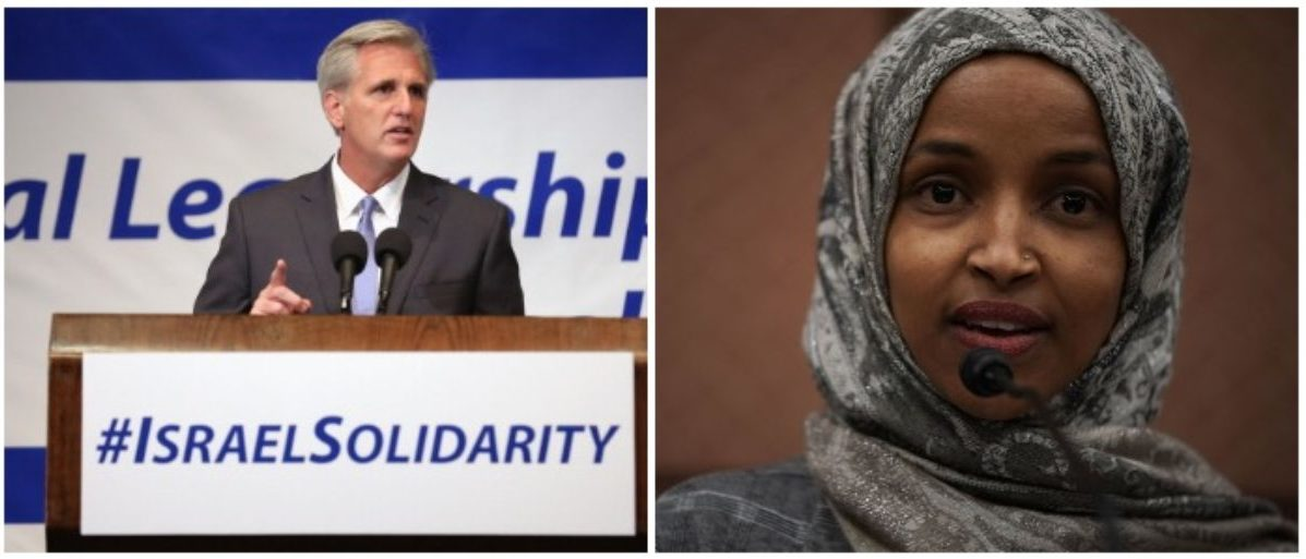 Rep. Kevin McCarthy and Rep. Ilhan Omar (LEFT: Chip Somodevilla/Getty Images RIGHT: Alex Wong/Getty Images)