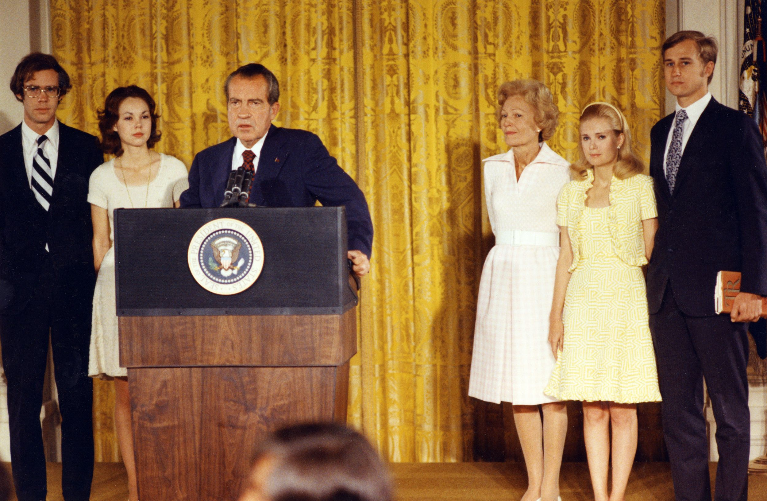President Richard Nixon bids farewell to the White House staff in 1974. (White House/AFP/Getty Images)