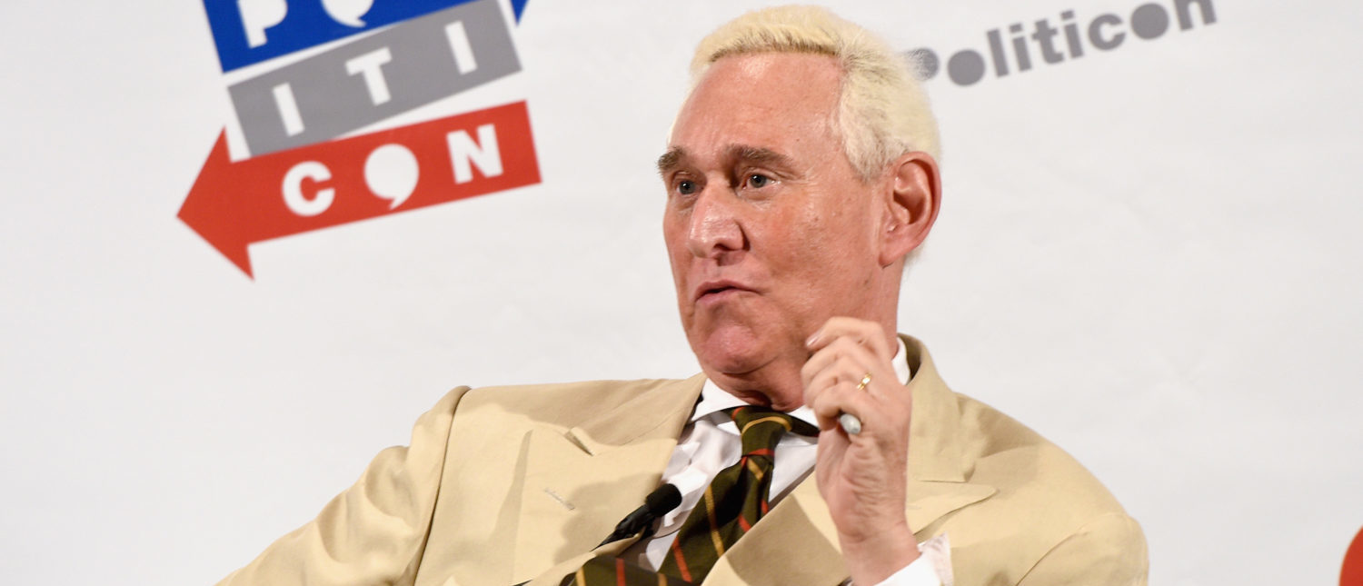 Roger Stone speaks at 'Watergate: The Long View? panel during Politicon at Pasadena Convention Center on July 29, 2017. (Joshua Blanchard/Getty Images for Politicon)