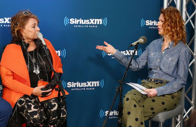 Actress Roseanne Barr speaks with SiriusXM host Sandra Bernhard during SiriusXM's Town Hall with the cast of Roseanne on March 27, 2018 in New York City. (Photo by Astrid Stawiarz/Getty Images for SiriusXM)