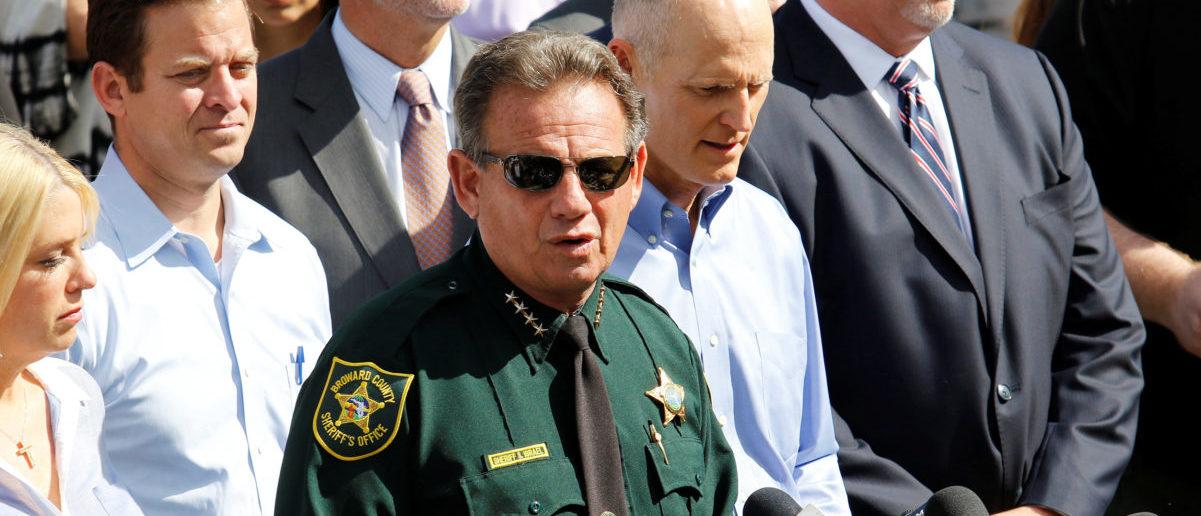 Sheriff Scott Israel addresses the news media outside Marjory Stoneman Douglas High School following a school shooting in Parkland, Florida, U.S., February 15, 2018. REUTERS/Thom Baur