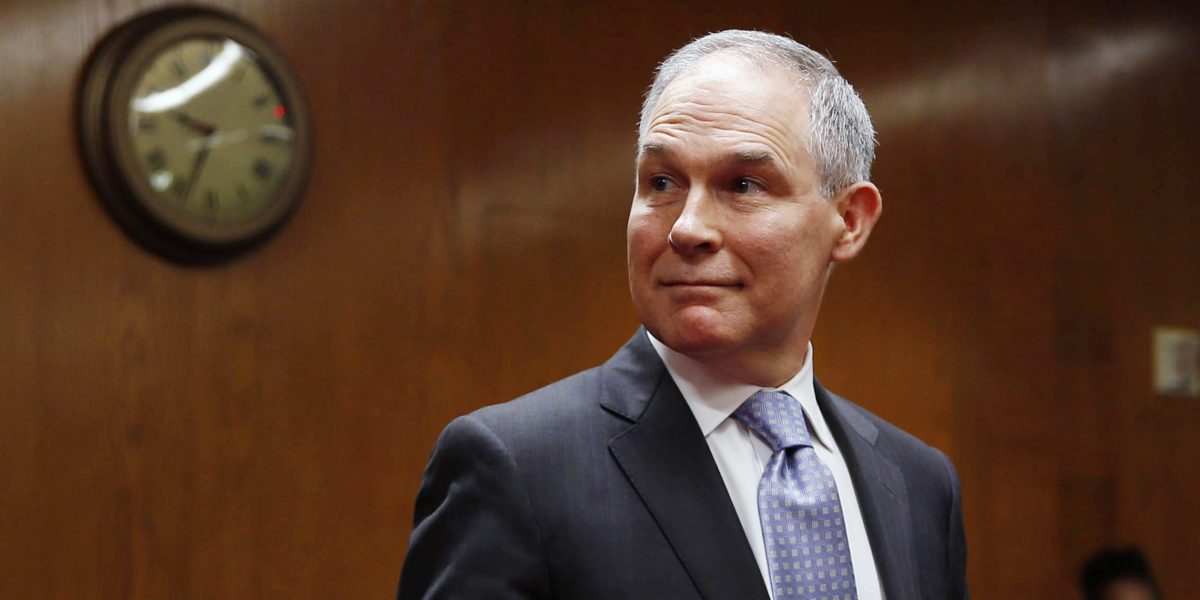 EPA Administrator Scott Pruitt arrives to testify before a Senate Appropriations Interior, Environment, and Related Agencies Subcommittee hearing on the proposed budget estimates and justification for FY2019 for the Environmental Protection Agency on Capitol Hill in Washington, U.S., May 16, 2018. REUTERS/Al Drago