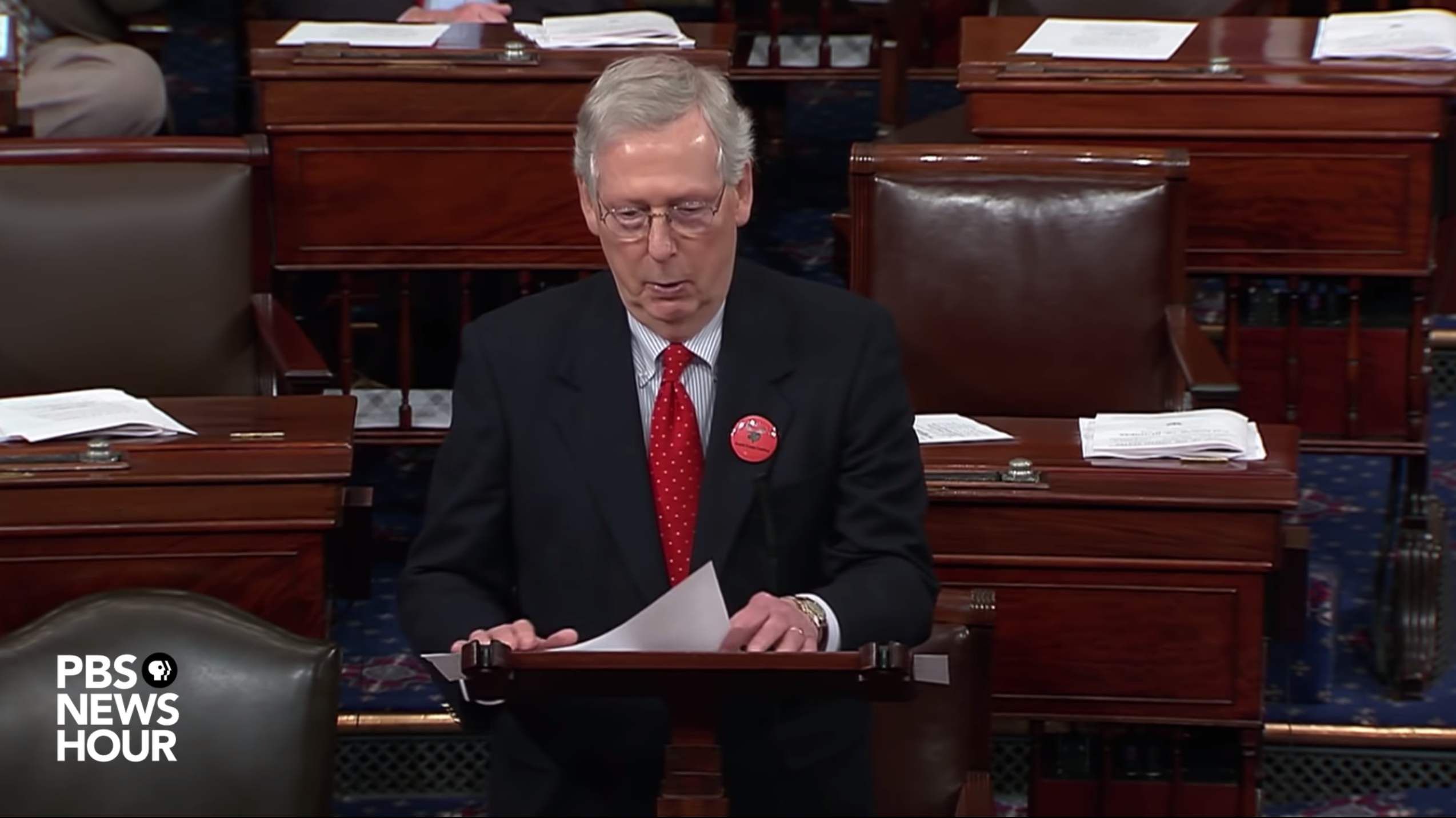 Mitch McConnell on Floor of the Senate / PBS News Hour YouTube Screen Shot