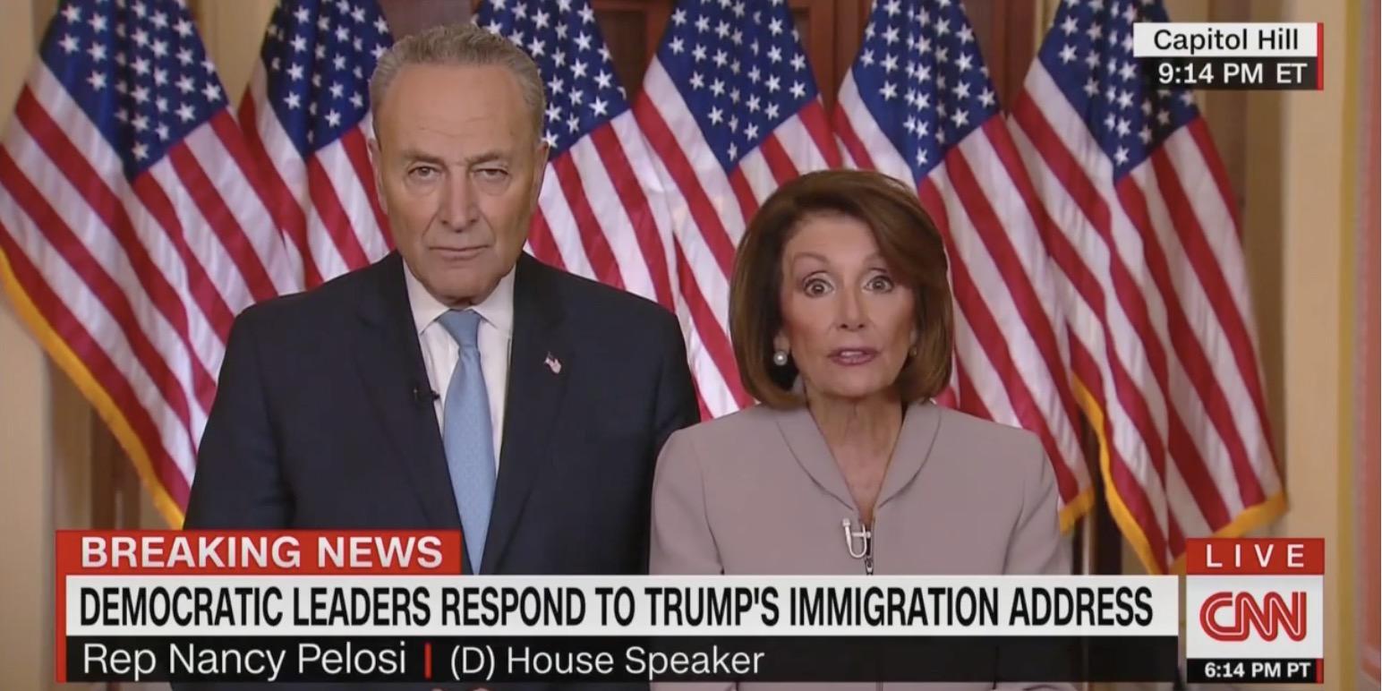 Senator Chuck Schumer and Speaker of the House Nancy Pelosi (Screen capture from CNN)