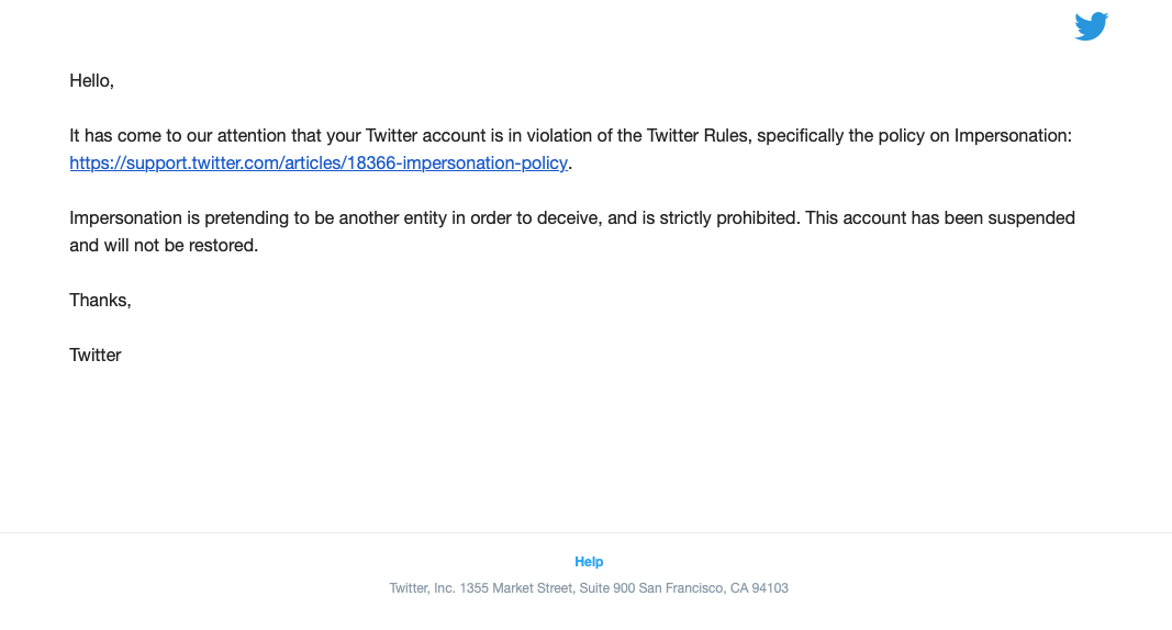 Beto's Blog Permanently Suspended From Twitter (Screenshot: The Daily Caller)