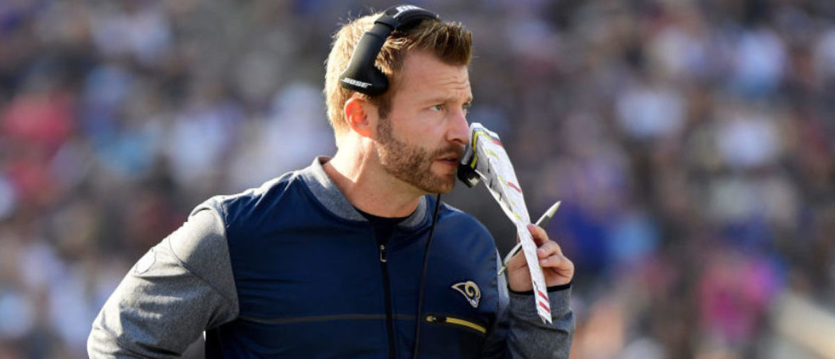 LOS ANGELES, CA - NOVEMBER 26: Head Coach Sean McVay of the Los Angeles Rams looks on during the game against the New Orleans Saints at the Los Angeles Memorial Coliseum on November 26, 2017 in Los Angeles, California. (Photo by Harry How/Getty Images)