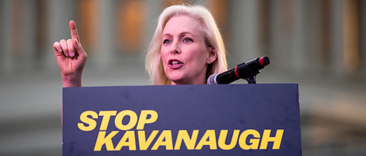 U.S. Sen. Kirsten Gillibrand speaks to protesters rallying against Supreme Court nominee Judge Brett Kavanaugh on Capitol Hill, Oct. 4, 2018 in Washington, D.C. (Photo by Drew Angerer/Getty Images)