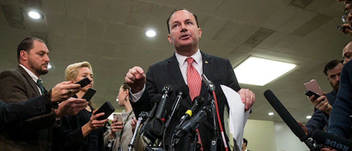 WASHINGTON, DC - NOVEMBER 28: Sen. Mike Lee (R-UT) speaks to the press after receiving a briefing from U.S. Secretary of Defense Jim Mattis and U.S. Secretary of State Mike Pompeo on developments in Saudi Arabia on Capitol Hill on November 28, 2018 in Washington, DC. (Photo by Zach Gibson/Getty Images)