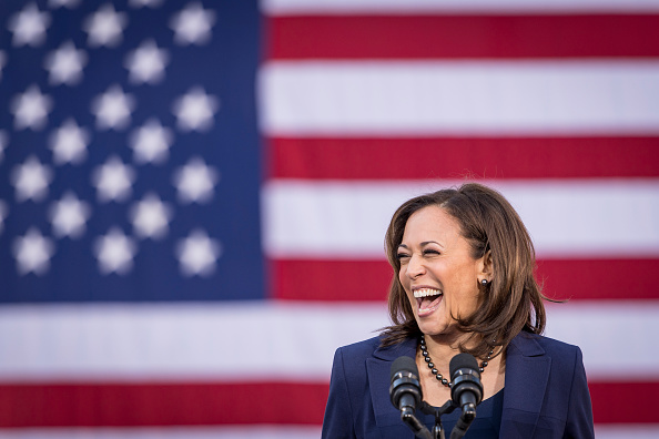 Senator Kamala Harris, a Democrat from California, reacts while speaking during an event to launch presidential campaign in Oakland, California, U.S., on Sunday, Jan. 27, 2019. Harris's likely path to the Democratic nomination runs through black voters, who made up a quarter of the primary electorate in 2016 and were critical to nominating Hillary Clinton, as well as to electing Barack Obama in 2008 and 2012. Photographer: David Paul Morris/Bloomberg via Getty Images