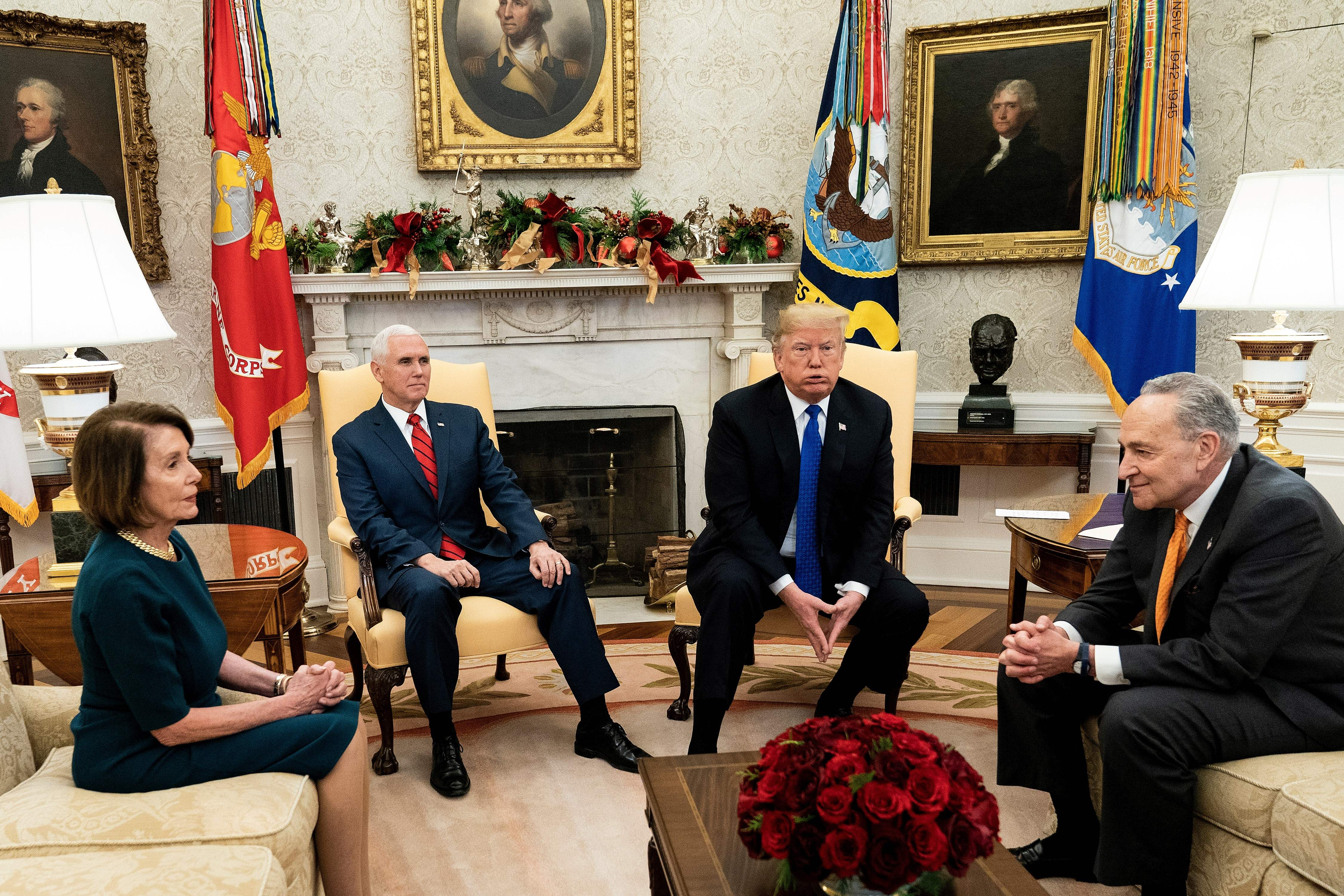 Nancy Pelosi, VP Mike Pence, President Donald Trump, and Senate Minority Leader Charles Schumer wait for a meeting at the White House (Brendan Smialowski/AFP/Getty Images)