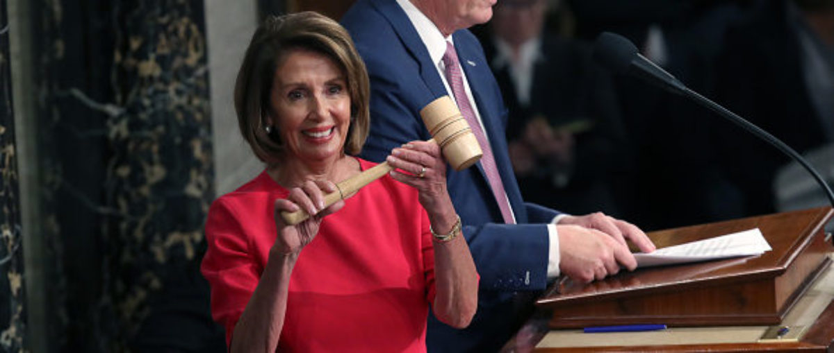 WASHINGTON, DC - JANUARY 03: Speaker of the House Nancy Pelosi (D-CA) receives the gavel from Rep. Kevin McCarthy (R-CA) during the first session of the 116th Congress at the U.S. Capitol January 03, 2019 in Washington, DC. Under the cloud of a partial federal government shutdown, Pelosi reclaimed her former title as speaker and her fellow Democrats took control of the House of Representatives for the second time in eight years. (Photo by Win McNamee/Getty Images)