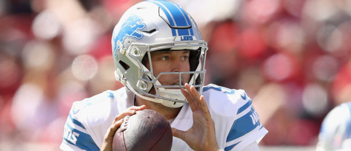 SANTA CLARA, CA - SEPTEMBER 16: Matthew Stafford #9 of the Detroit Lions in action during their game against the San Francisco 49ers at Levi's Stadium on September 16, 2018 in Santa Clara, California. (Photo by Ezra Shaw/Getty Images)