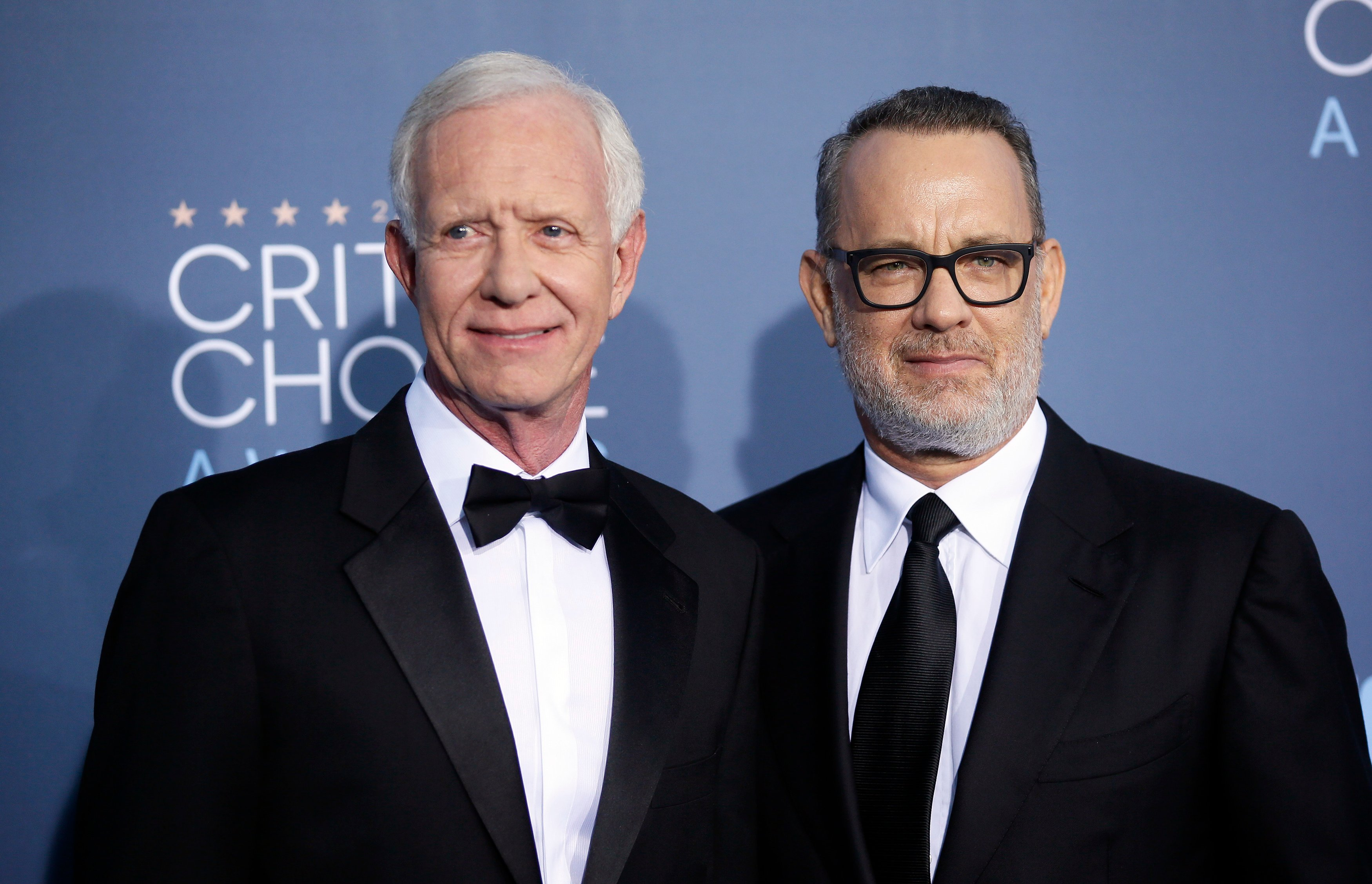 "Captain Chesley ""Sully"" Sullenberger and actor Tom Hanks arrive at the 22nd Annual Critics' Choice Awards in Santa Monica, California, U.S., December 11, 2016. REUTERS/Danny Moloshok"