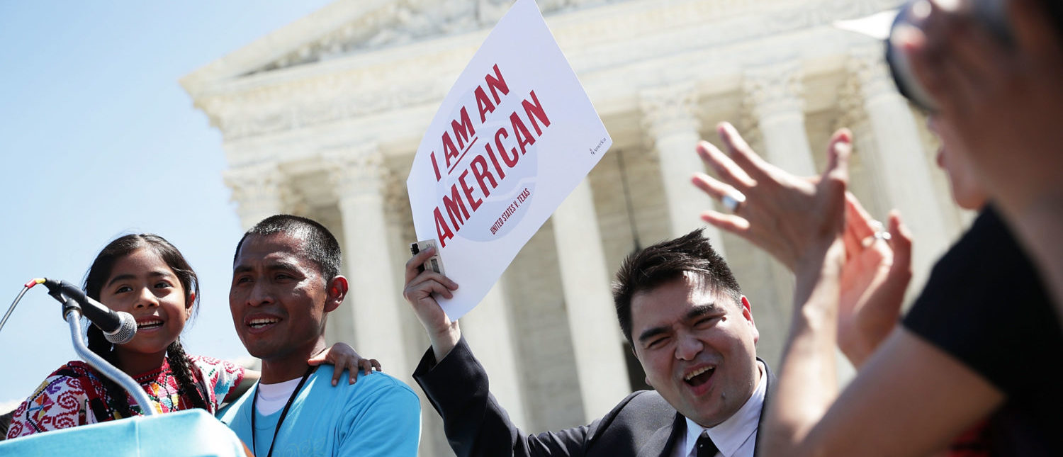 Demonstrators speak in front of the Supreme Court on April 18, 2016. (Alex Wong/Getty Images)