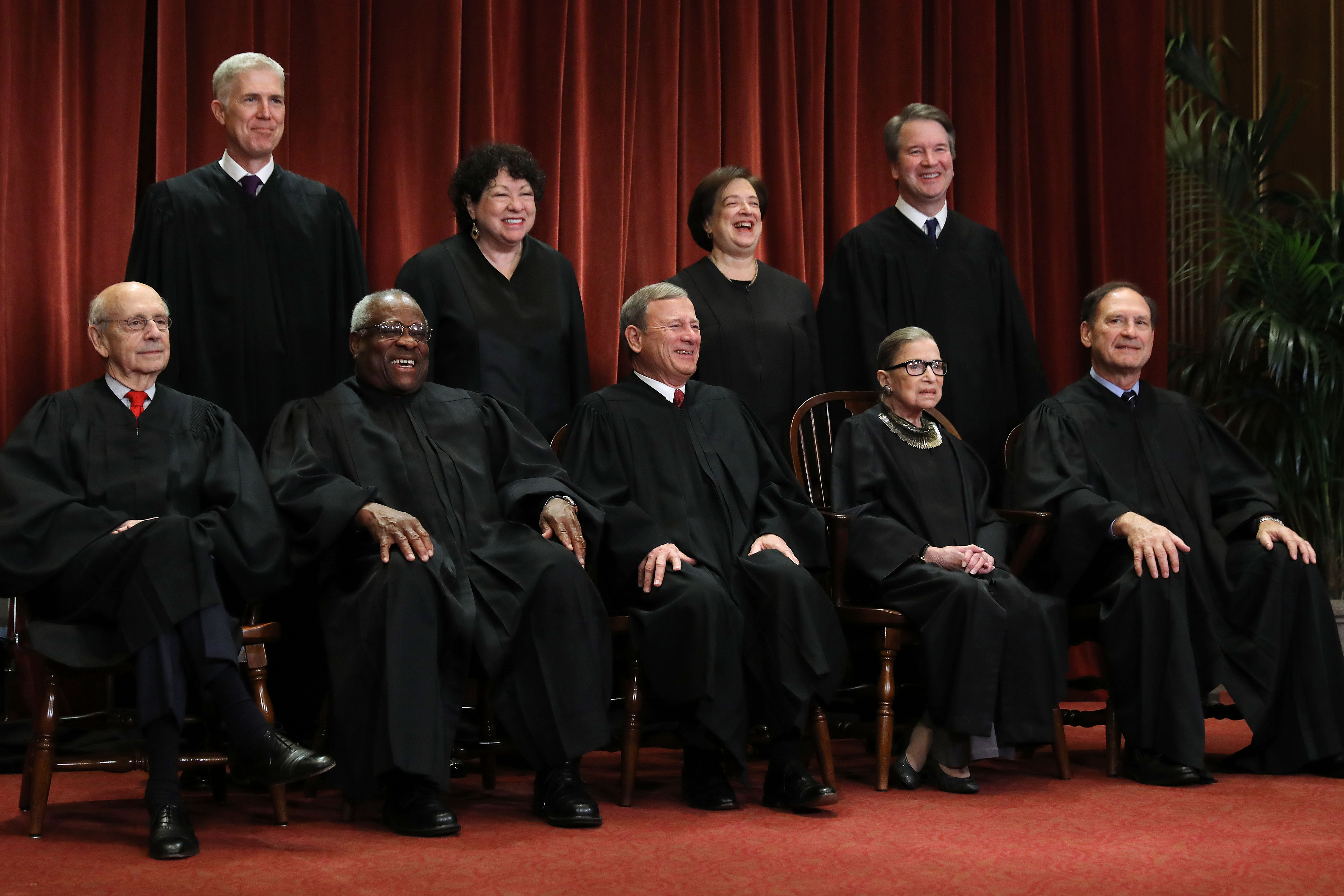 The justices of the Supreme Court pose for their official portrait on November 30, 2018. (Chip Somodevilla/Getty Images)