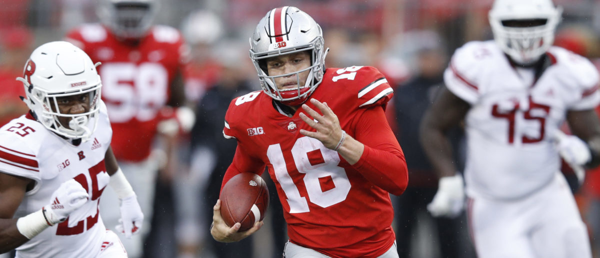 COLUMBUS, OH - SEPTEMBER 08: Tate Martell #18 of the Ohio State Buckeyes breaks free on a 47-yard touchdown run in the fourth quarter of the game against the Rutgers Scarlet Knights at Ohio Stadium on September 8, 2018 in Columbus, Ohio. Ohio State won 52-3. (Photo by Joe Robbins/Getty Images)