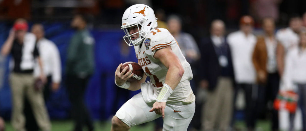 NEW ORLEANS, LOUISIANA - JANUARY 01: Sam Ehlinger #11 of the Texas Longhorns runs for a touchdown against the Georgia Bulldogs during the Allstate Sugar Bowl at Mercedes-Benz Superdome on January 01, 2019 in New Orleans, Louisiana. (Photo by Chris Graythen/Getty Images)