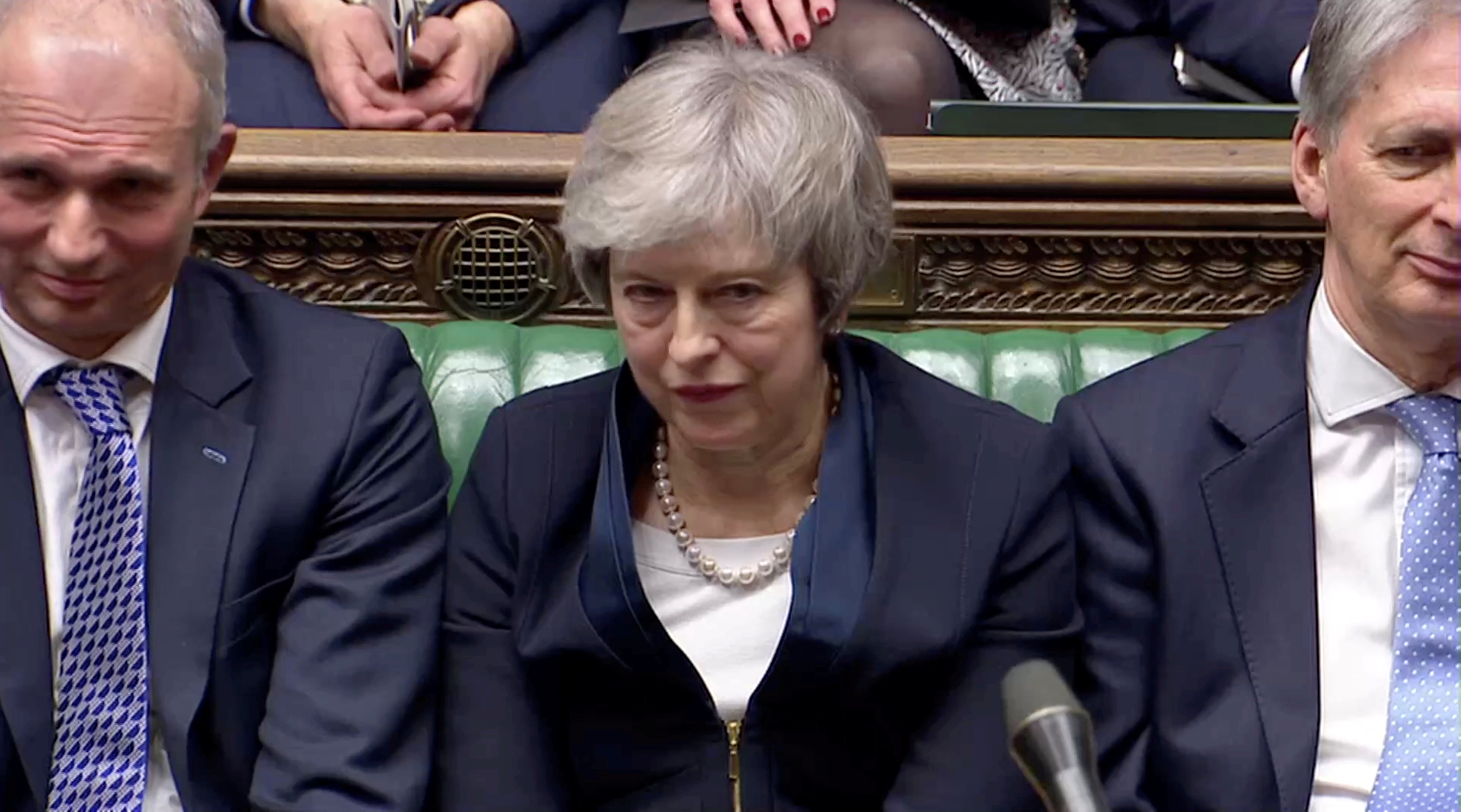 Prime Minister Theresa May sits down in Parliament after the vote on May's Brexit deal, in London, Britain, January 15, 2019 in this screengrab taken from video. Reuters TV via REUTERS TPX IMAGES OF THE DAY - RC1C5CCEC0A0