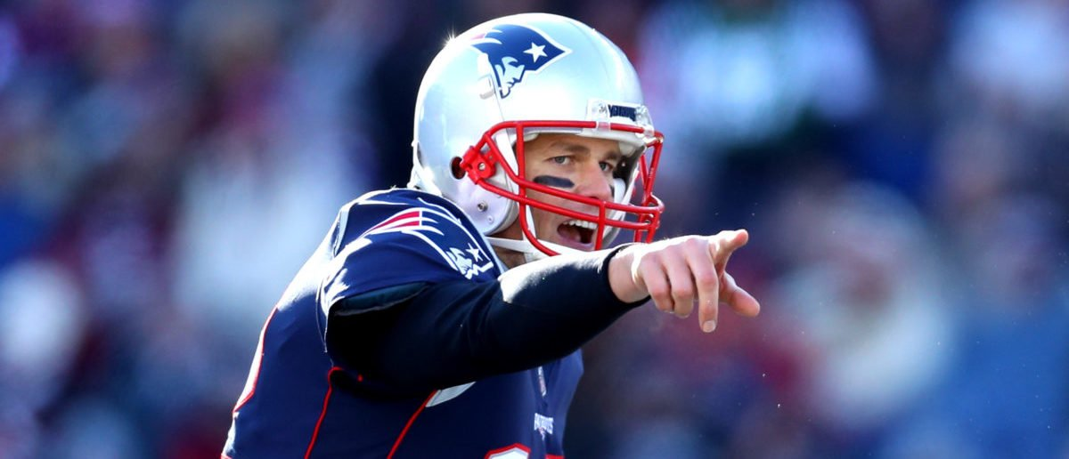 FOXBOROUGH, MASSACHUSETTS - DECEMBER 30: Tom Brady #12 of the New England Patriots reacts during the first quarter of a game against the New York Jets at Gillette Stadium on December 30, 2018 in Foxborough, Massachusetts. (Photo by Maddie Meyer/Getty Images)