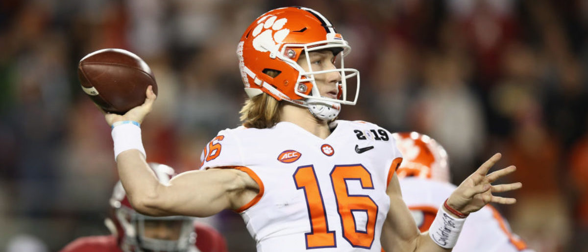 SANTA CLARA, CA - JANUARY 07: Trevor Lawrence #16 of the Clemson Tigers attempts a pass during the first quarter against the Alabama Crimson Tide in the CFP National Championship presented by AT&T at Levi's Stadium on January 7, 2019 in Santa Clara, California. (Photo by Ezra Shaw/Getty Images)