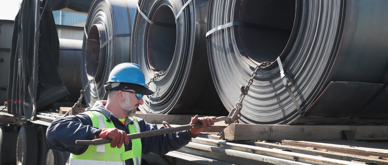 PORTAGE, IN - MARCH 15: Steel is loaded onto a truck for shipping at the NLMK Indiana steel mill on March 15, 2018 in Portage, Indiana. The coils, which are custom made to customer specifications, weigh an average of nearly 25 tons. The mill, which is projected to produce up to 1 million tons of steel from recycled scrap in 2018, is considered a mini mill by U.S standards. NLMK Indiana is a subsidiary of NLMK, one of Russia's largest steel manufacturers, responsible for nearly a quarter of Russias steel production. Steel producers in the U.S. and worldwide are preparing for the impact of the recently-proposed tariffs by the Trump administration of 25 percent on imported steel. (Photo by Scott Olson/Getty Images)