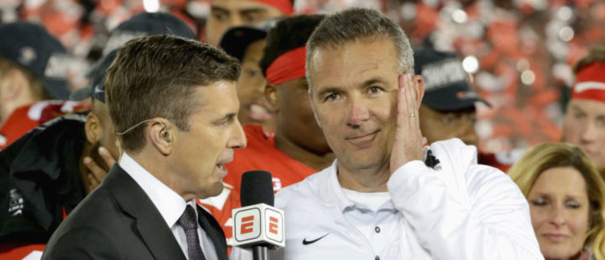 PASADENA, CA - JANUARY 01: Ohio State Buckeyes head coach Urban Meyer celebrates winning the Rose Bowl Game presented by Northwestern Mutual at the Rose Bowl on January 1, 2019 in Pasadena, California. (Photo by Jeff Gross/Getty Images)