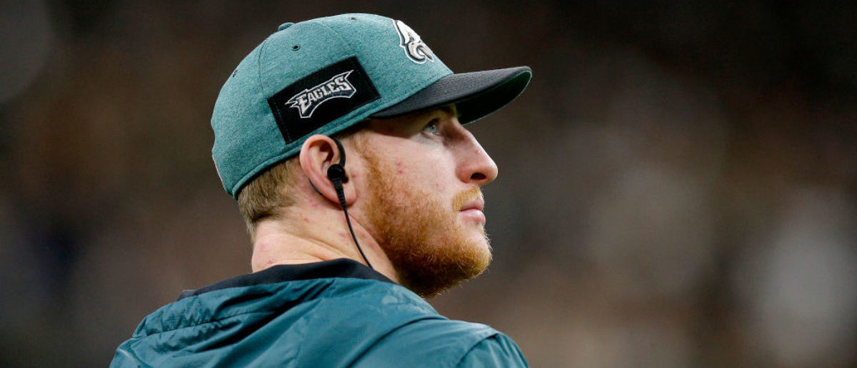 NEW ORLEANS, LOUISIANA - JANUARY 13: Carson Wentz #11 of the Philadelphia Eagles looks on during the fourth quarter against the New Orleans Saints in the NFC Divisional Playoff Game at Mercedes Benz Superdome on January 13, 2019 in New Orleans, Louisiana. (Photo by Jonathan Bachman/Getty Images)