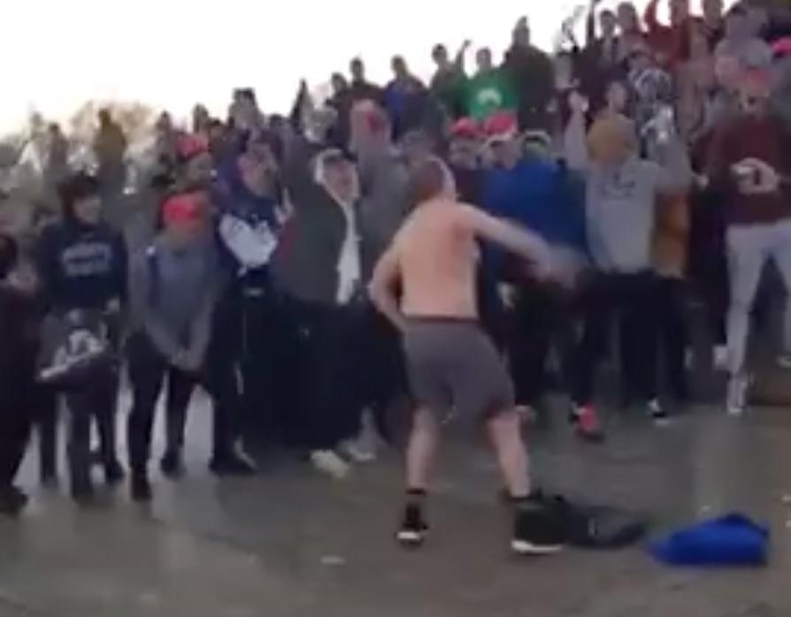 A Covington Catholic High School student leads raucous cheer in Washington/Screen Shot