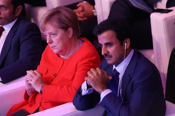 BERLIN, GERMANY - SEPTEMBER 07: German Chancellor Angela Merkel and the Emir of Qatar, Sheikh Tamim bin Hamad Al Thani, attend the Qatar Germany Business and Investment Forum on September 7, 2018 in Berlin, Germany. (Photo by Sean Gallup/Getty Images)