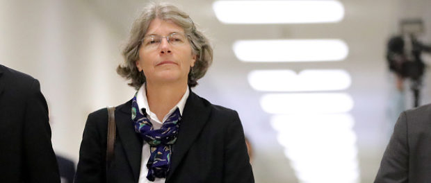 Fusion GPS contractor Nellie Ohr arrives for a closed-door interview with investigators from the House Judiciary and Oversight committees in the Rayburn House Office Building on Capitol Hill on Oct. 19, 2018 in Washington, D.C. (Chip Somodevilla/Getty Images)