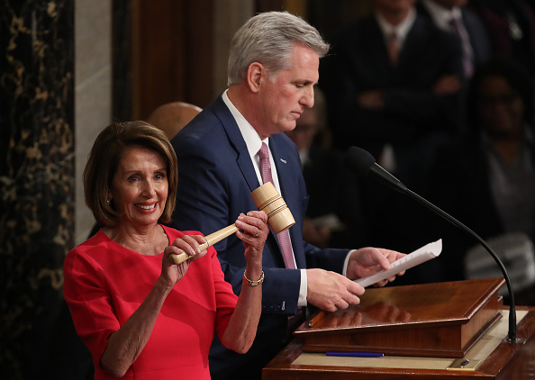 WASHINGTON, DC - JANUARY 03: Speaker of the House Nancy Pelosi (D-CA) smiles after receiving the gavel from Rep. Kevin McCarthy (R) (R-CA) following her election as the next Speaker of the House during the first session of the 116th Congress at the U.S. Capitol January 03, 2019 in Washington, DC. Under the cloud of a partial federal government shutdown, Pelosi reclaimed her former title as speaker and her fellow Democrats took control of the House of Representatives for the second time in eight years.(Photo by Win McNamee/Getty Images)