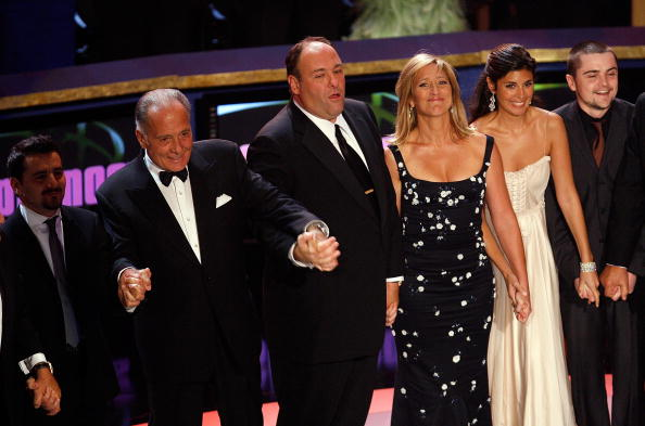 The cast of the Sopranos accepts the Outstanding Directing in a Drama Series award onstage during the 59th Annual Primetime Emmy Awards at the Shrine Auditorium on September 16, 2007 in Los Angeles, California. (Photo by Vince Bucci/Getty Images)