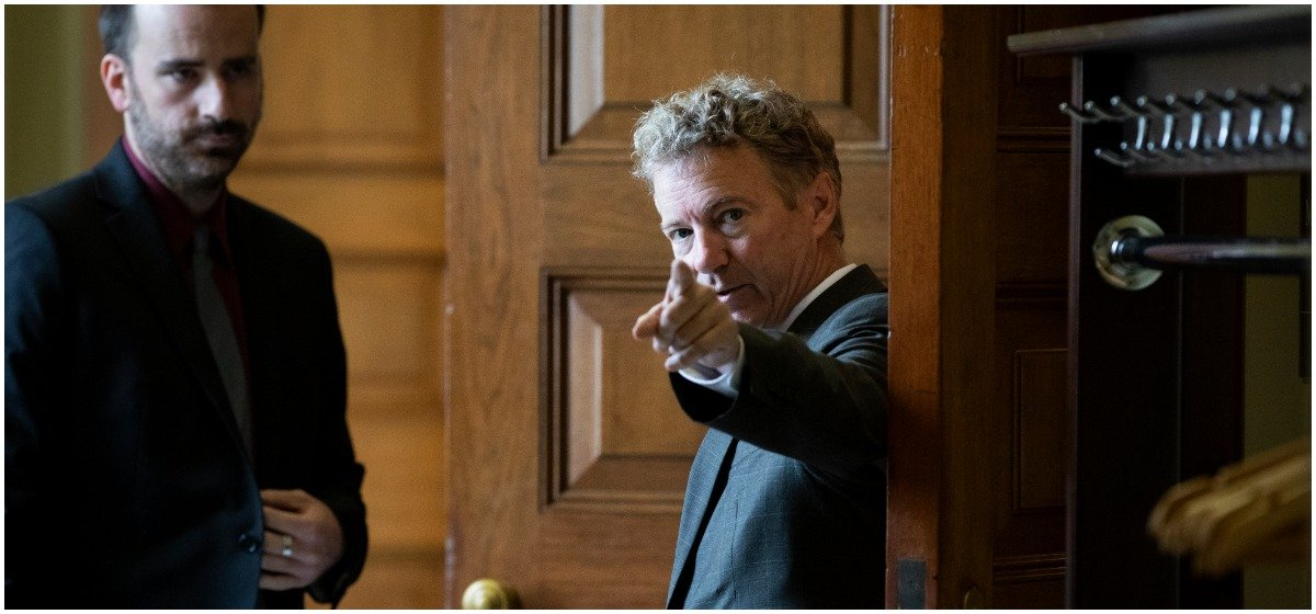 Sen. Rand Paul (R-KY) arrives for the weekly GOP policy luncheon on Capitol Hill, September 25, 2018 in Washington, DC. Christine Blasey Ford, who has accused Kavanaugh of sexual assault, has agreed to testify before the Senate Judiciary Committee on Thursday. (Photo by Drew Angerer/Getty Images)
