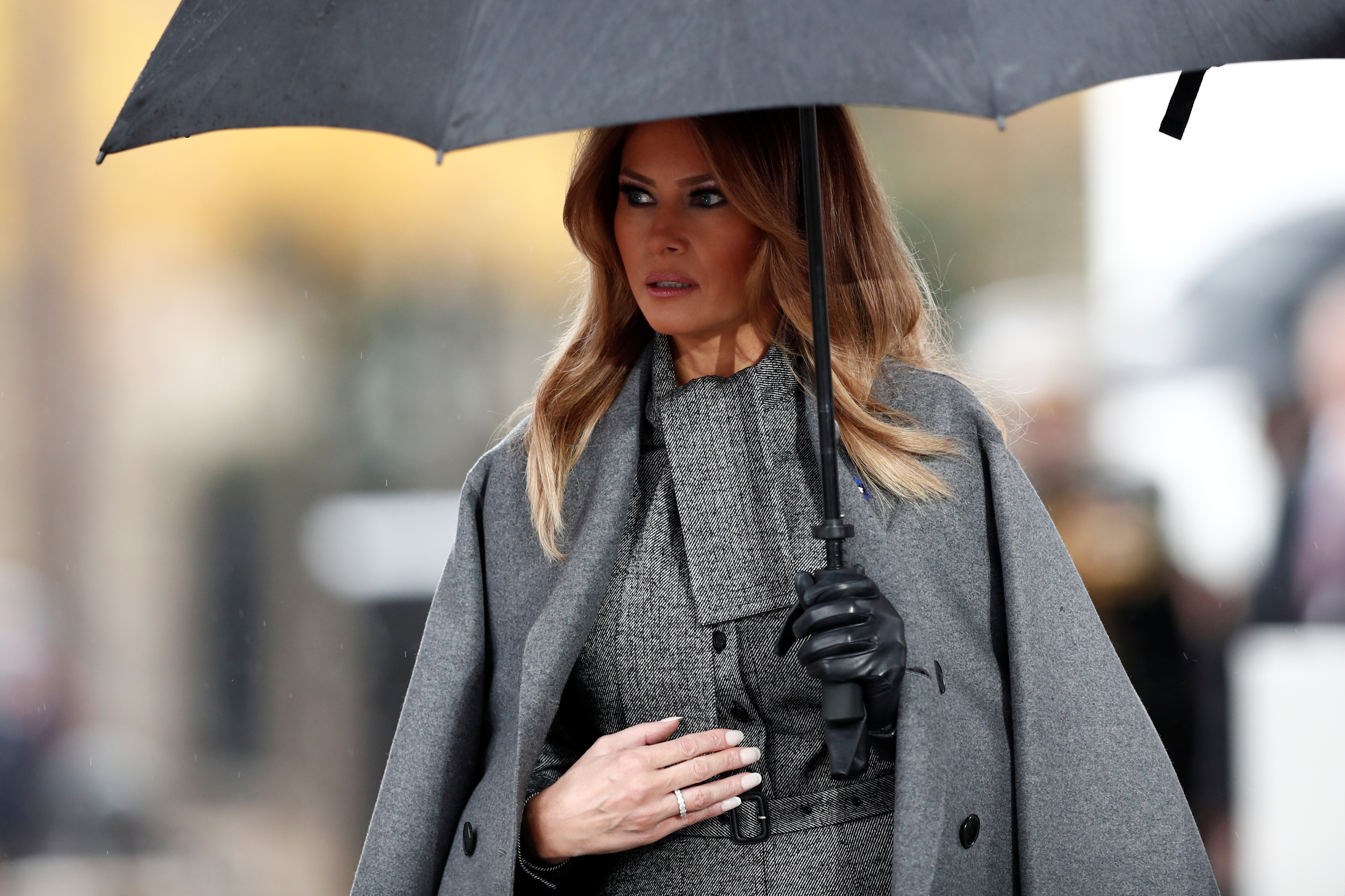 U.S. first lady Melania Trump arrives to attend a commemoration ceremony for Armistice Day, 100 years after the end of the First World War at the Arc de Triomphe in Paris, France, November 11, 2018. REUTERS/Benoit Tessier/Pool
