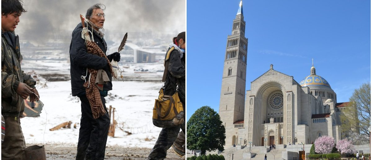 Nathan Phillips and Basilica of the Immaculate Conception (LEFT: Terray Sylvester/REUTERS RIGHT: Victoria Lipov/Shutterstock)