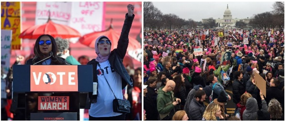Tamika Mallory and Linda Sarsour and the Women's March (LEFT: Ethan Miller/Getty Images RIGHT: ANDREW CABALLERO-REYNOLDS/AFP/Getty Images)