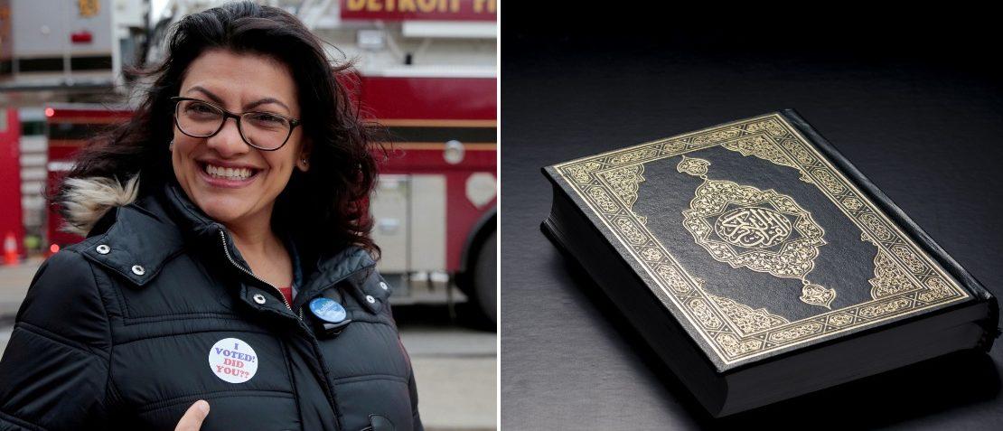 Rep. Rashida Tlaib and a Quran (LEFT: REUTERS/Rebecca Cook RIGHT: Shutterstock/MidoSemsem)
