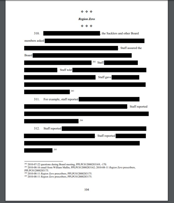 A heavily redacted page of a Jan. 15 filing by Massachusetts Attorney General Maura Healey in suit against Purdue Pharma and executives, including members of the billionaire Sackler family. Screenshot