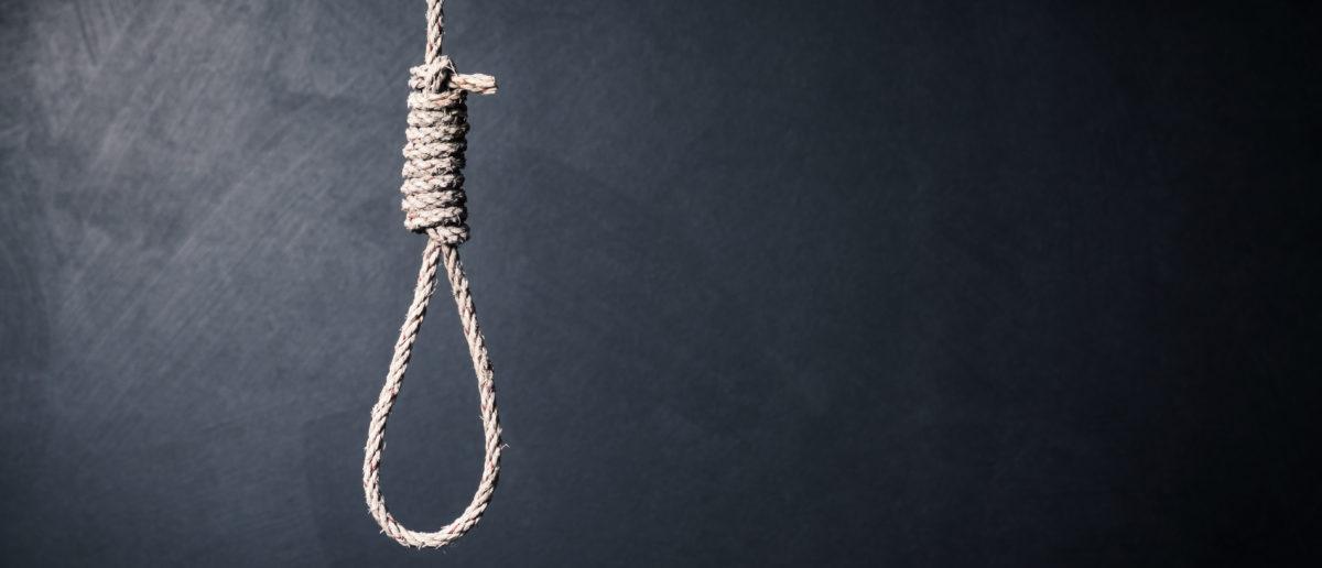 A noose hangs in a dark room. Shutterstock image via Santi S