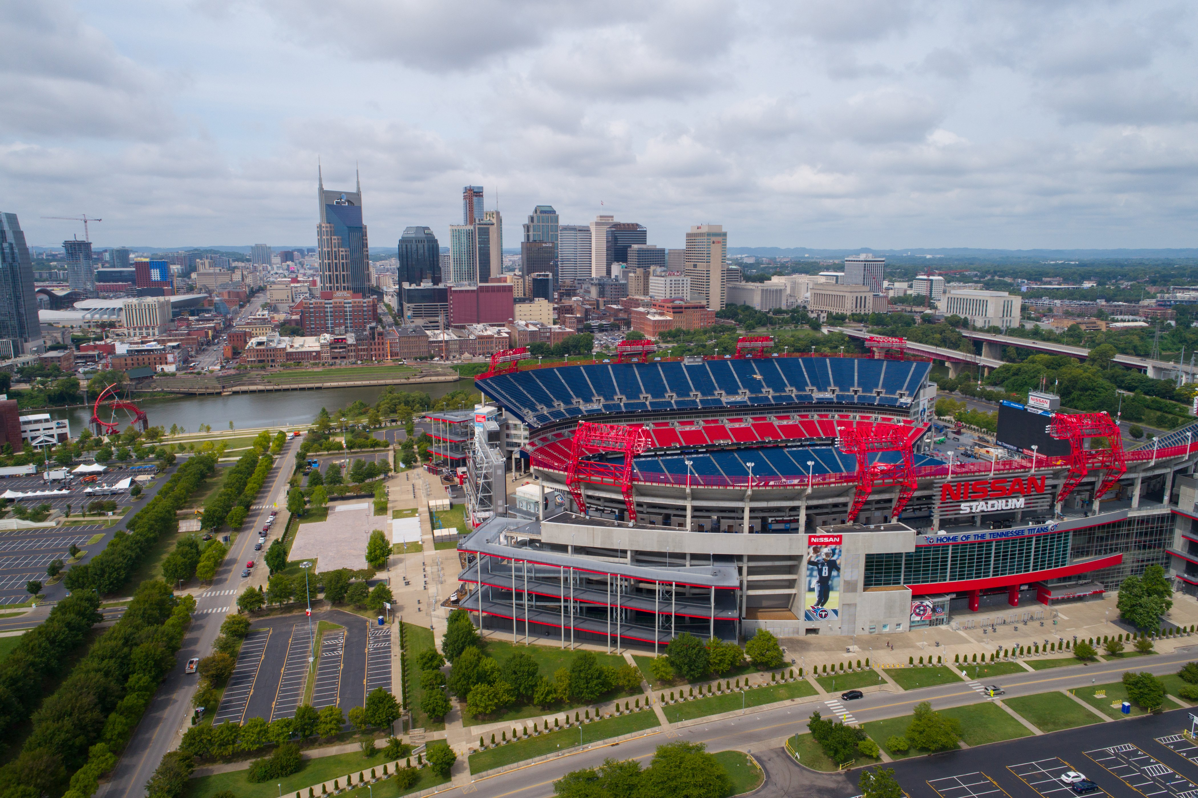 NASHVILLE, TN, USA - AUGUST 10, 2017: Aerial drone photo of the Nissan Football Stadium