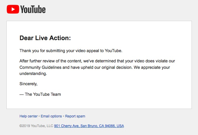 YouTube responds to Live Action over video. Screen Shot