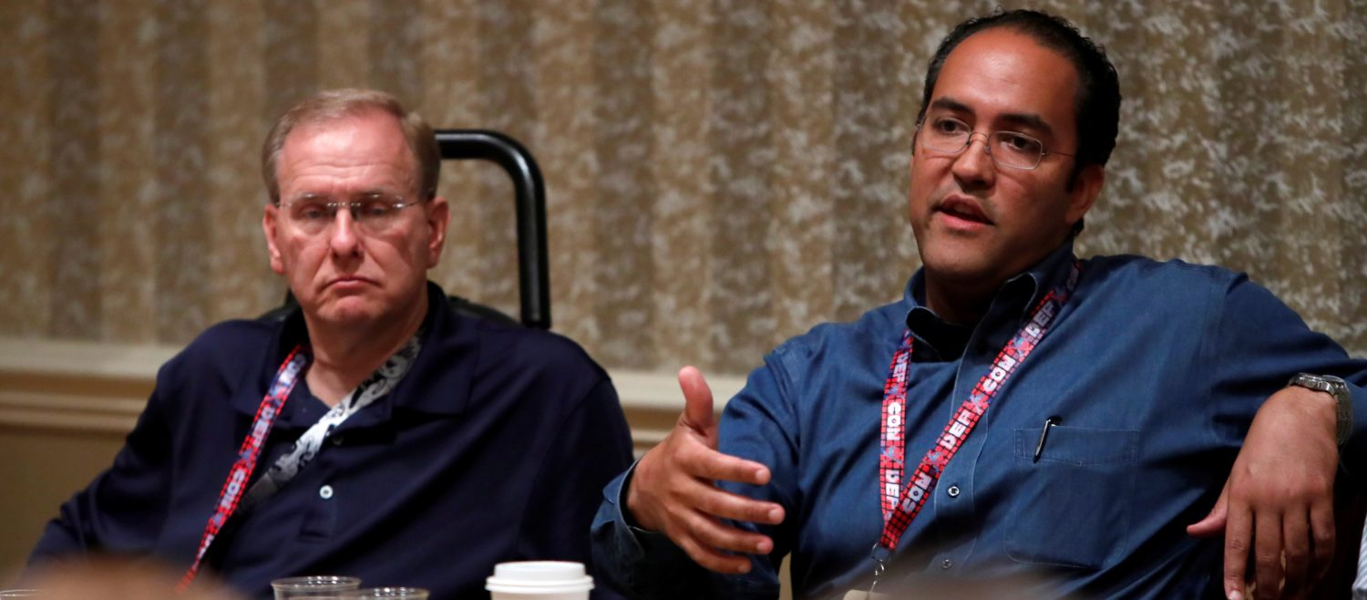 U.S. Congressmen James Langevin (D-RI) and Will Hurd (R-Tex) respond to questions during a session at the Def Con hacker convention in Las Vegas, Nevada, U.S. on July 29, 2017. REUTERS/Steve Marcus