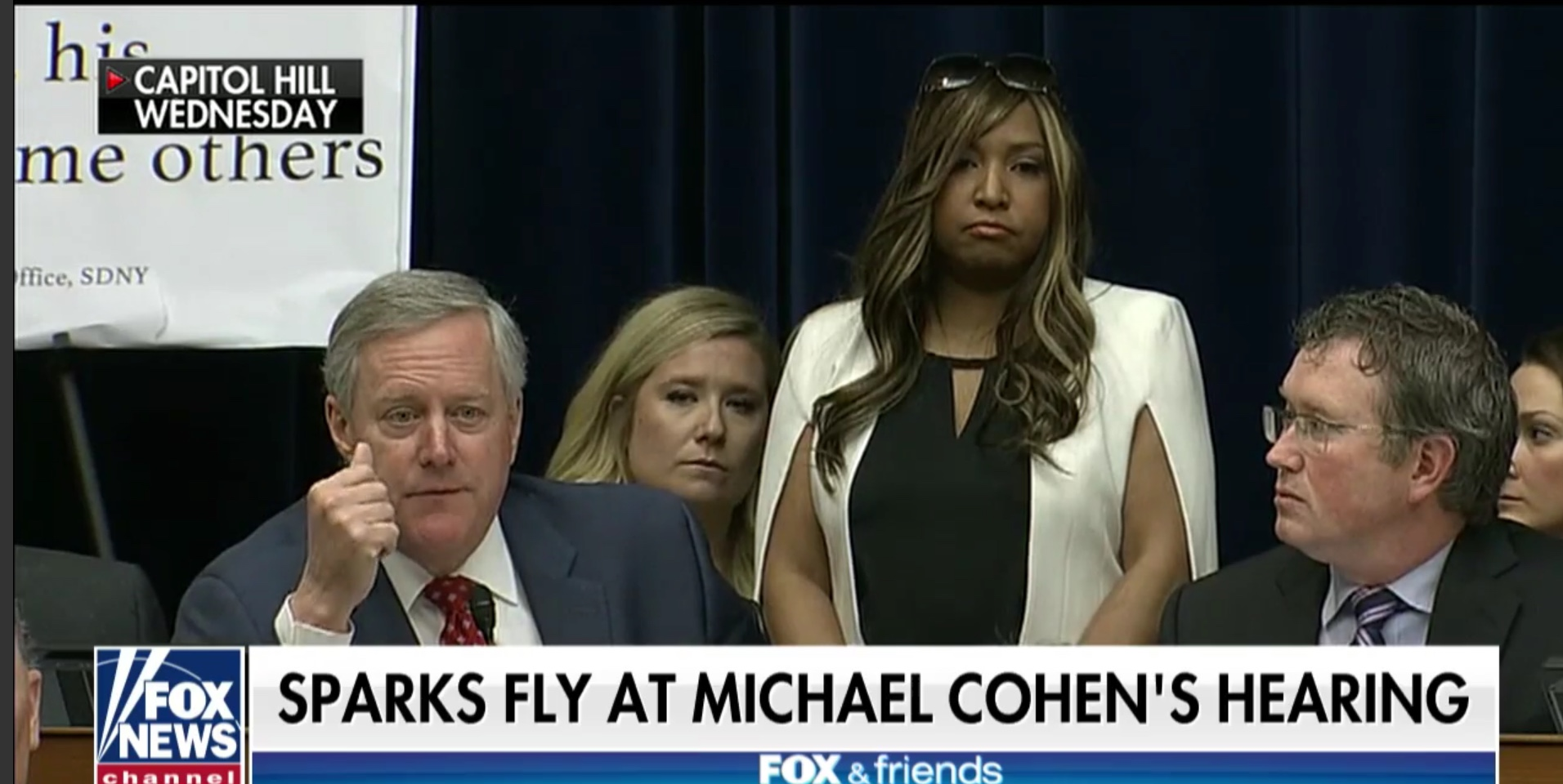 HUD official Lynne Patton stands behind Rep. Mark Meadows during testimony of Michael Cohen to Congress, Feb. 27, 2019. Fox News screenshot.