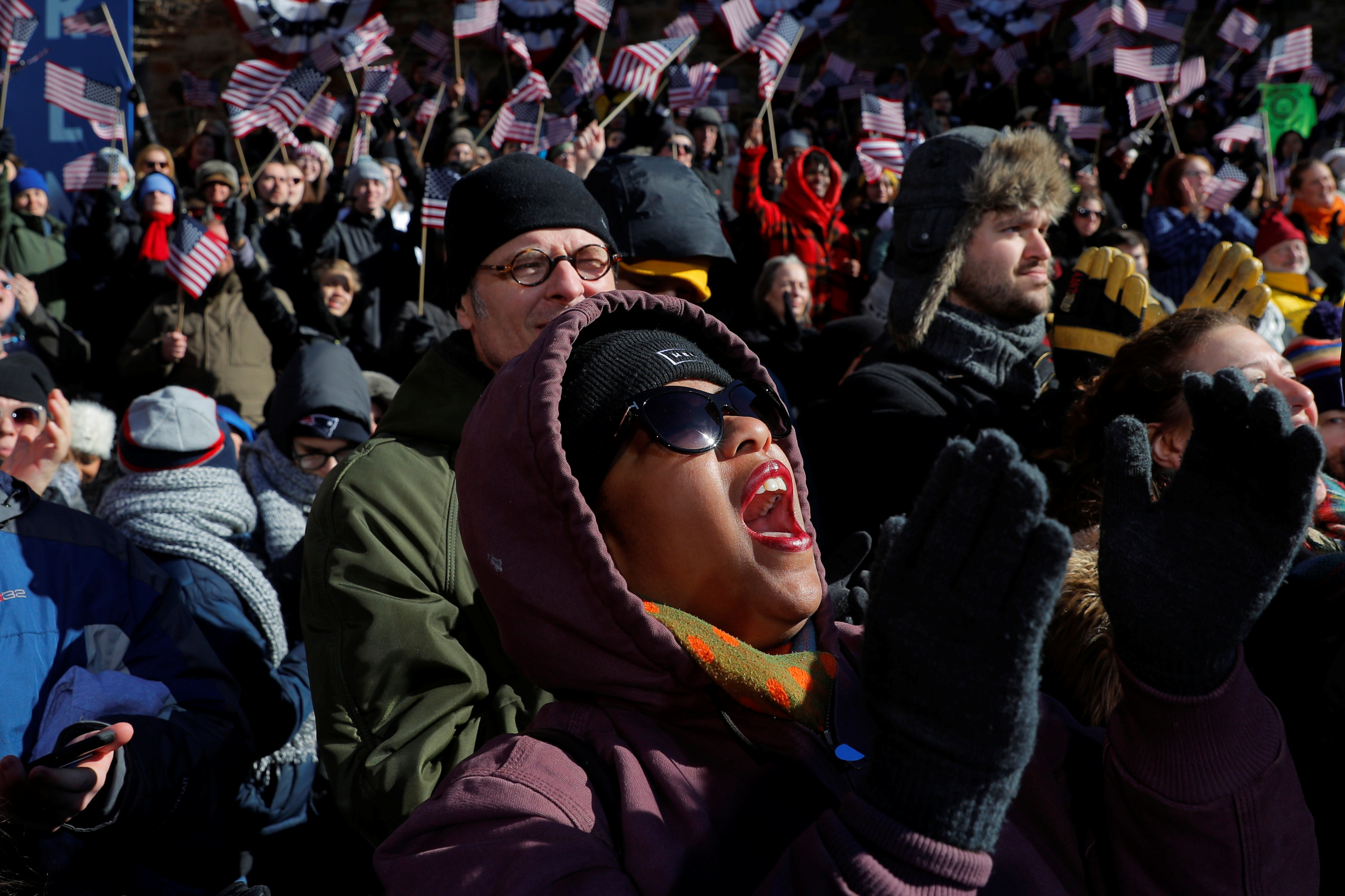 Supporters cheer as U.S. Senator Elizabeth Warren (D-MA) speaks at a rally to launch her campaign for the 2020 Democratic presidential nomination in Lawrence, Massachusetts, U.S., February 9, 2019. REUTERS/Brian Snyder