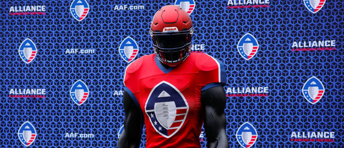 The logo for the Alliance of American Football League is shown on a football mannequin during a media event at SDCCU Stadium where the new league introduced a team and head coach to the eight-team league, set to begin play February 2019, in San Diego, California, U.S., May 31, 2018. REUTERS/Mike Blake